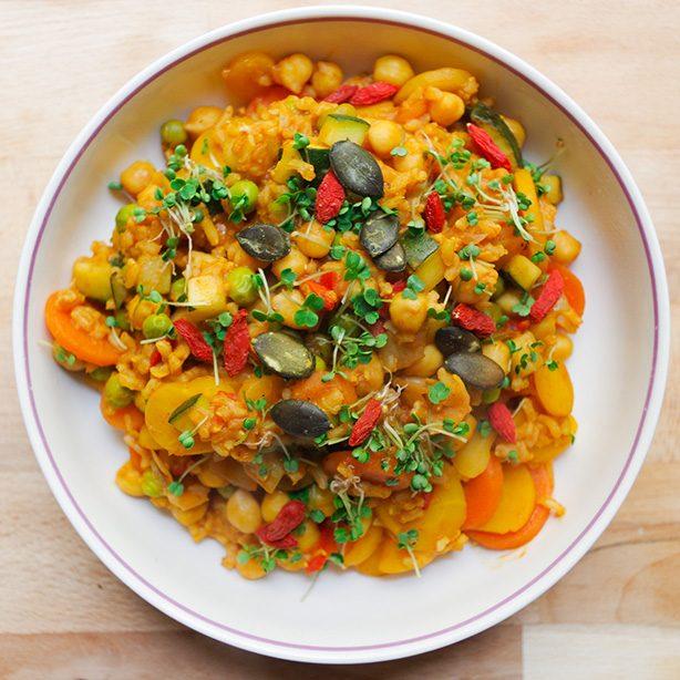 orientalische Kichererbsen-Gemüse-Pfanne