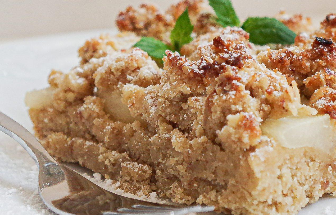 Zuckerfreier Birnen-Streuselkuchen